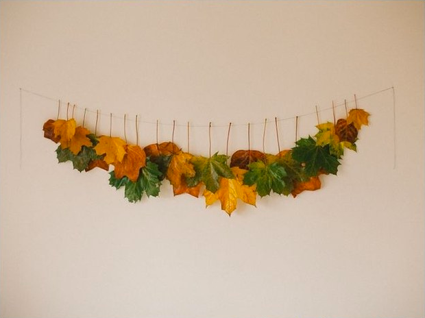 DIY project: Autumn garland made from leaves